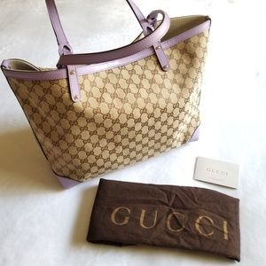 Gucci | Shoulder Bag Purple Leather Canvas Tote